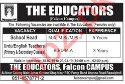 The Educators Falcon Campus Rawalpindi Jobs for Teachers
