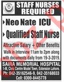 Saira memorial Hospital Lahore Jobs 2019 for Staff Nurses
