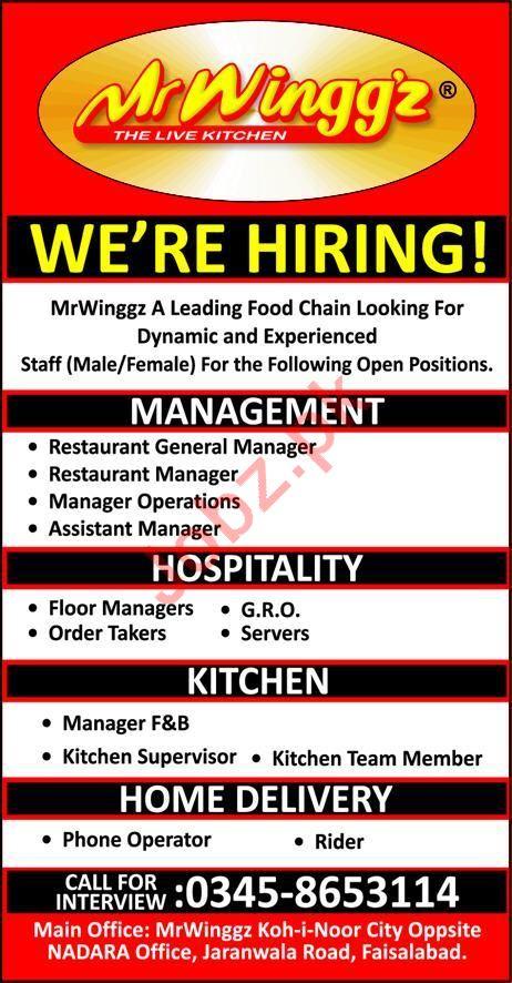 Mr Winggz Faisalabad Jobs For Managers Kitchen Staff 2021 Job Advertisement Pakistan