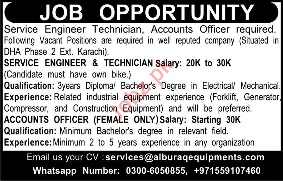 Accounts Officer, Engineer Technician Job in Karachi