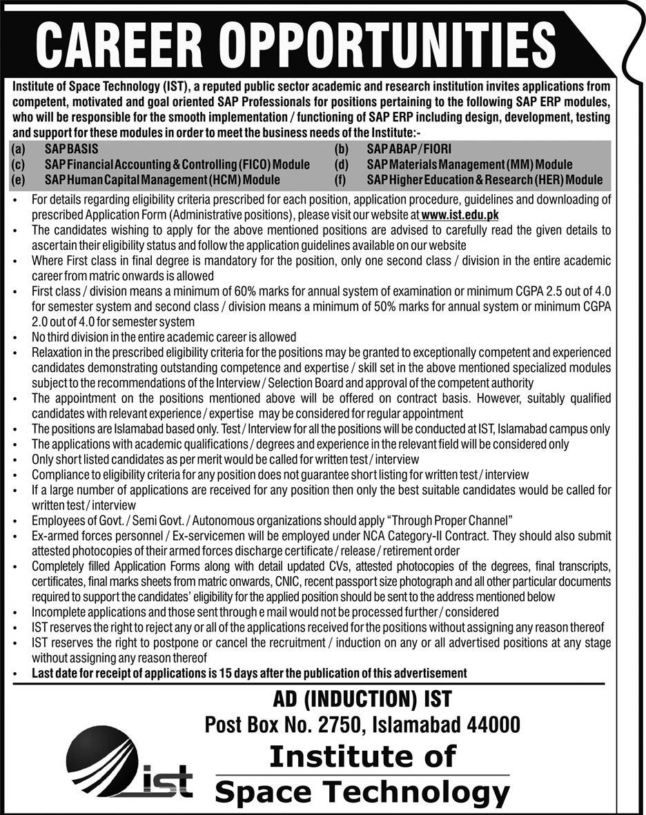 Institute of Space Technology IST Jobs 2019