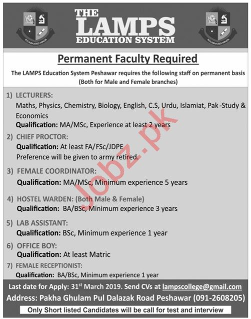 The Lamps College System Management Staff Job in Peshawar