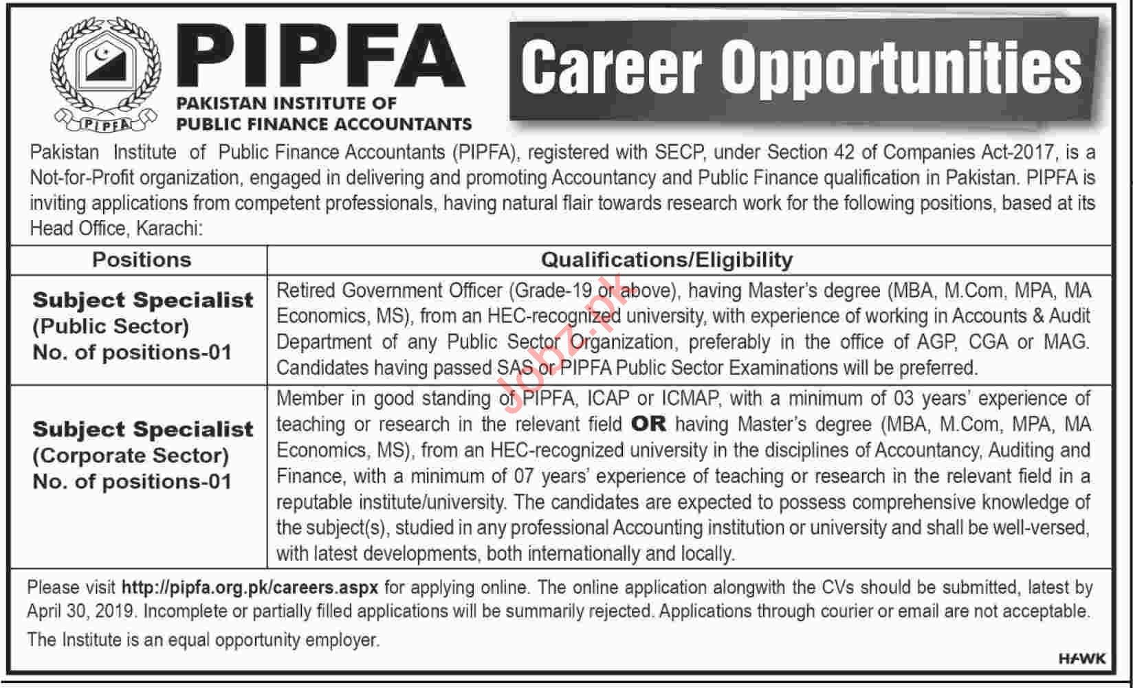 PIPFA Subject Specialist Job in Karachi