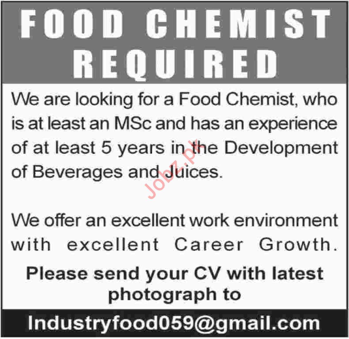Food Chemist Job 2019 in Karachi