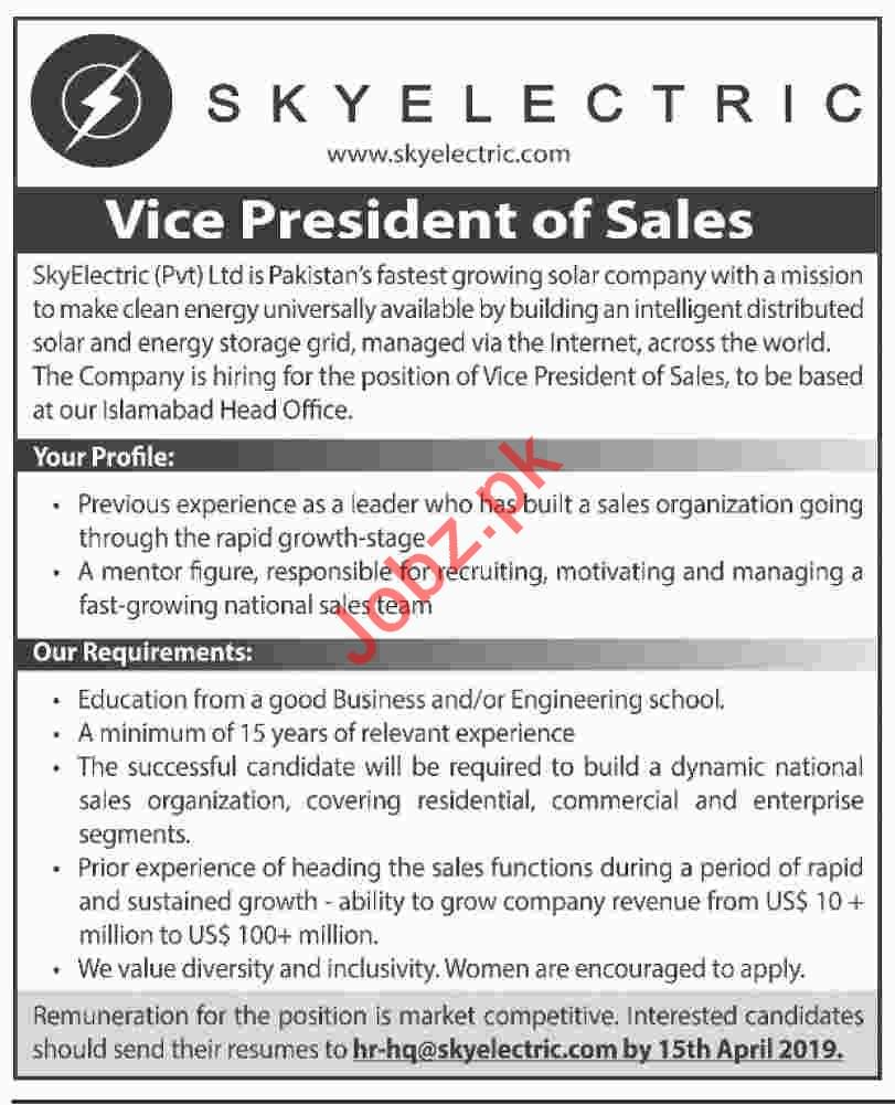 Sky Electric Private Limited Vice President of Sales Jobs