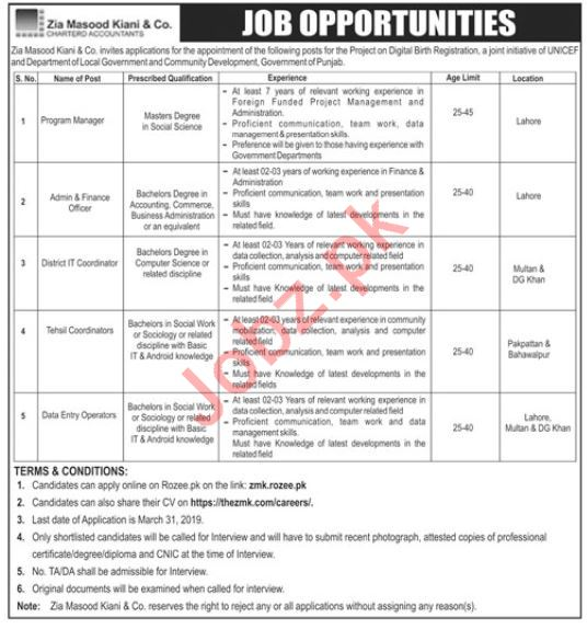 Zia Masood Kiani & Company Management Jobs 2019