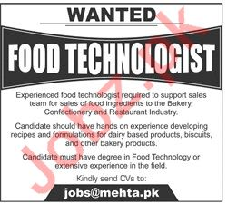 Mehta Brothers Lahore Jobs for Food Technologist