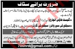 Guest House In Charge, Security Supervisor & Guard Jobs