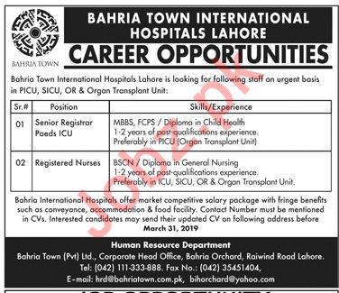 Bahria Town International Hospitals Medical Jobs in Lahore