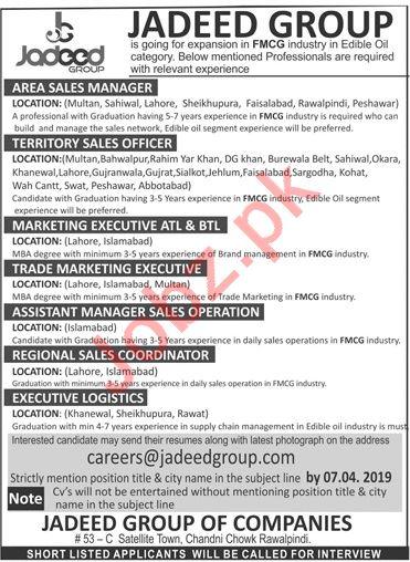 Jadeed Group of Companies Jobs 2019