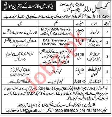 Cable World Brand Pvt Limited Jobs 2019 in Peshawar KPK