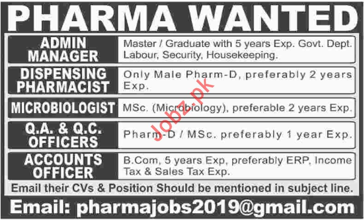 Admin Manager Jobs in Pharma Company