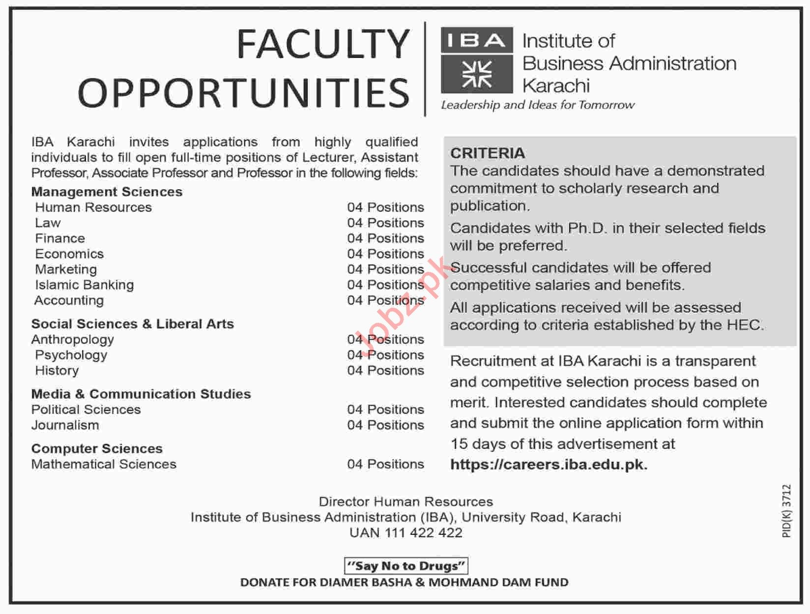 Institute of Business Administration Faculty Jobs 2019
