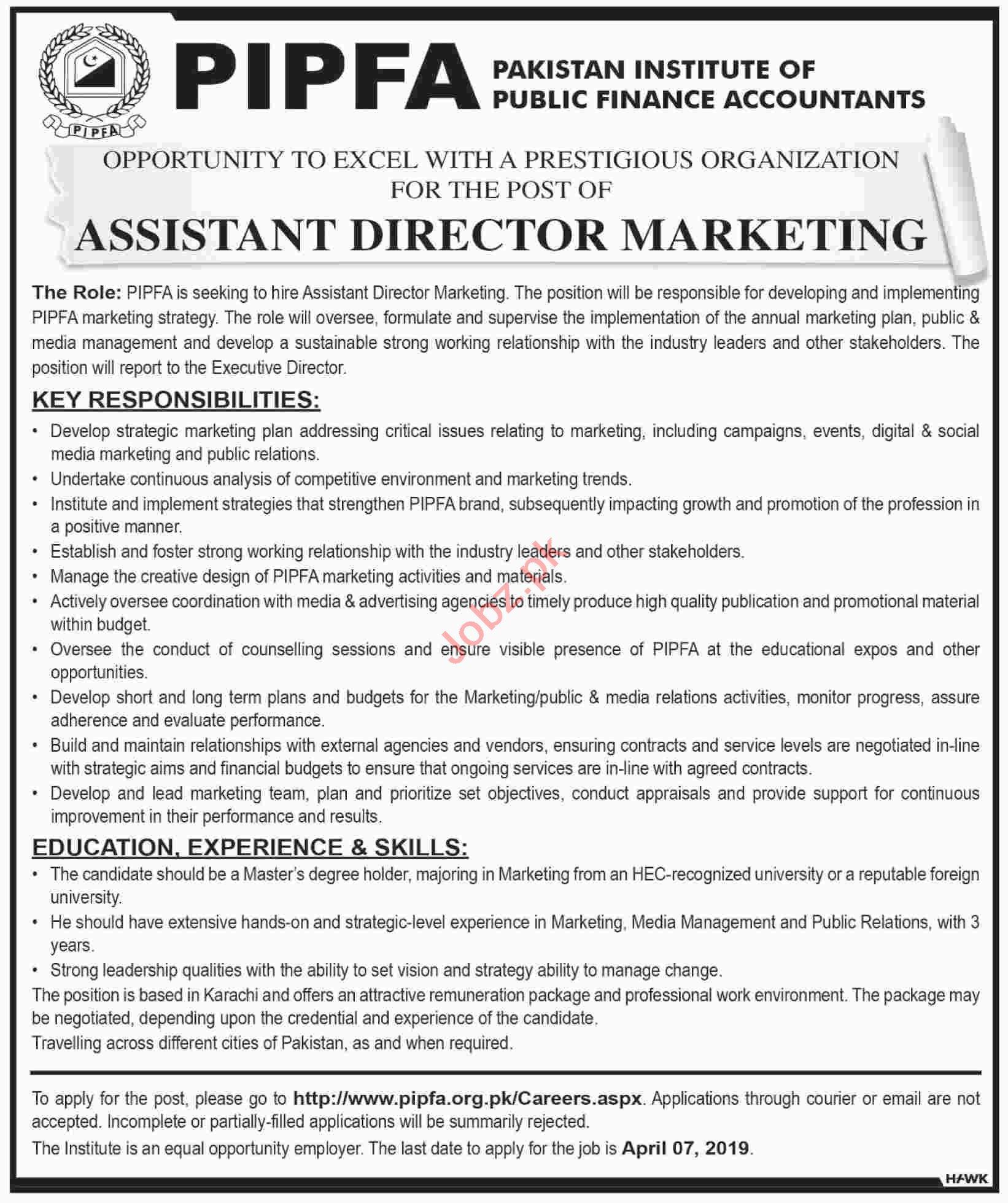 PIPFA Assistant Director Marketing Job in Karachi