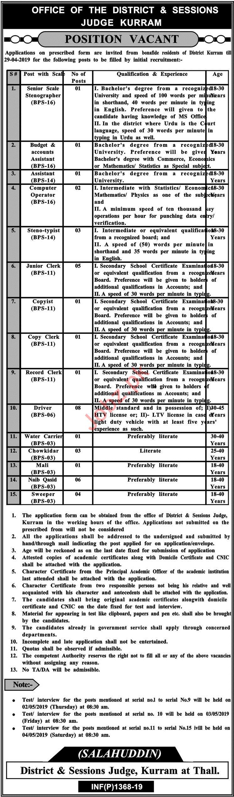 District & Session Judge Kurram Jobs 2019