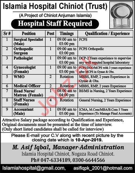 Islamia Hospital Chiniot Trust Medical Jobs 2019