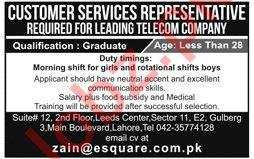 Esquare Services Lahore Customer Service Representative Jobs