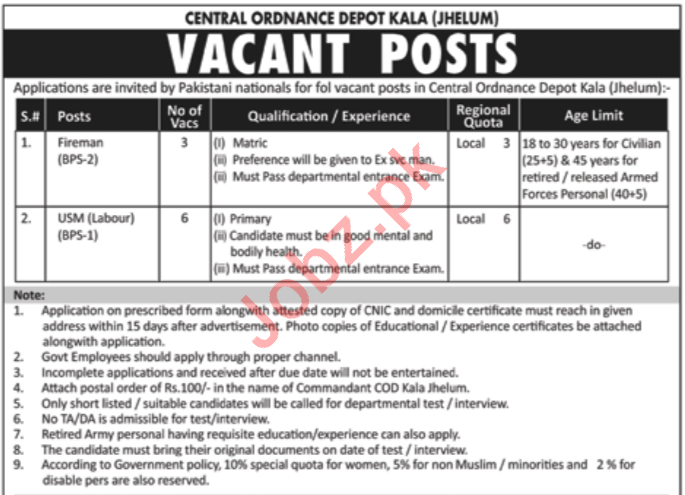 Central Ordnance Depot COD Kala Jhelum Jobs 2019