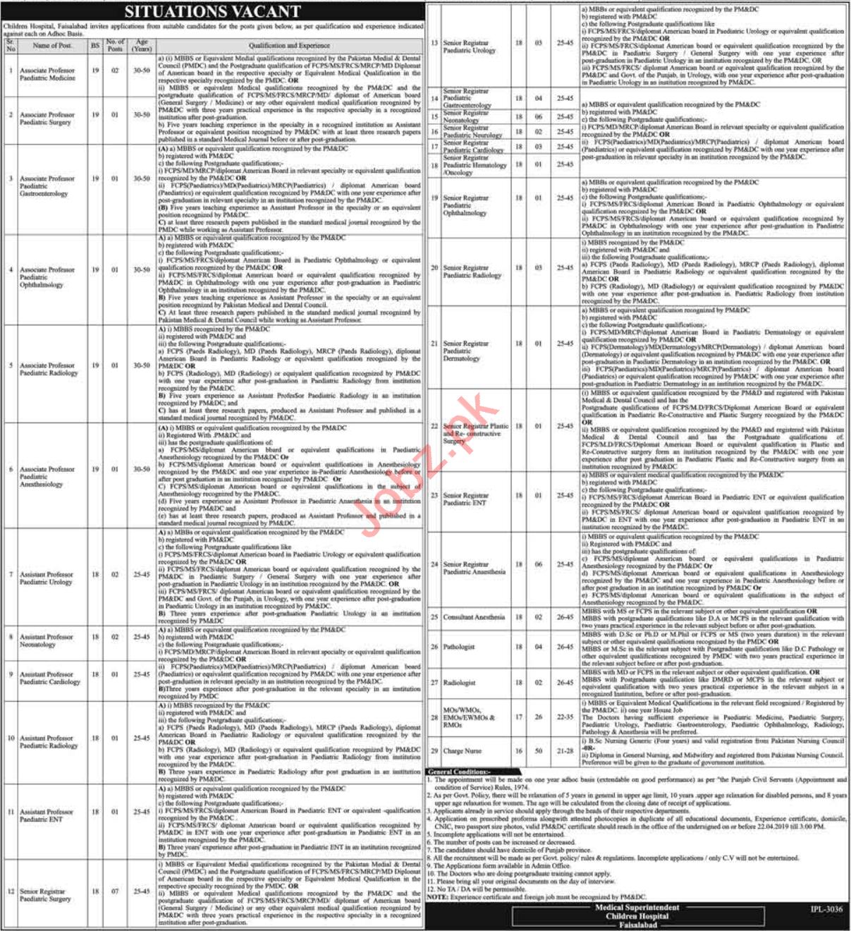Children Hospital Management Job in Faisalabad