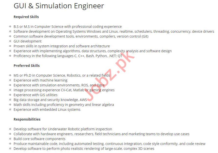 GUI & Simulation Engineer Job 2019 in Islamabad