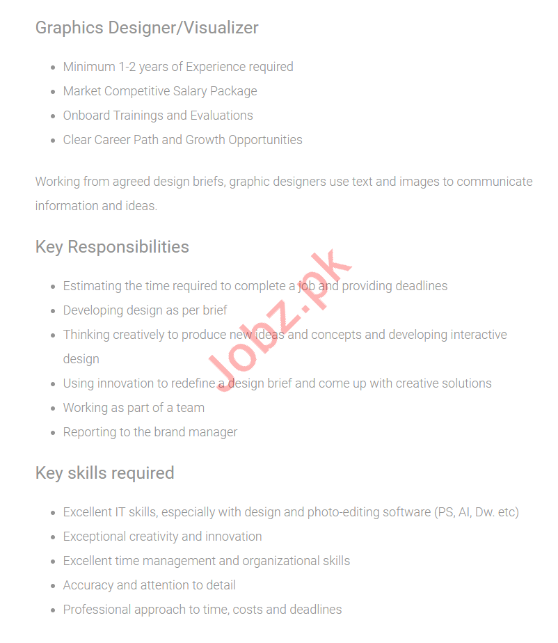 Graphics Designer & Visualizer Jobs 2019 in Karachi