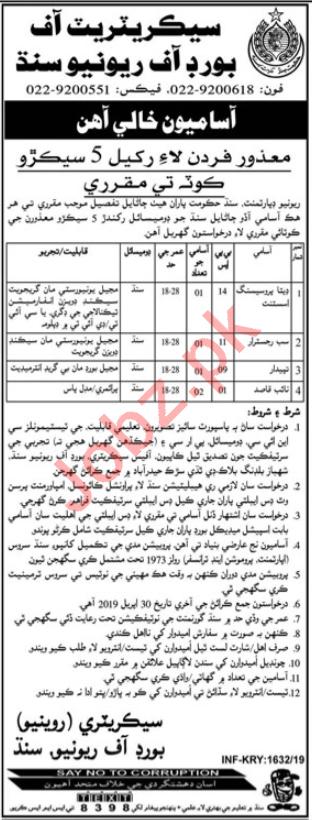 Sindh Revenue Board SRB Karachi Jobs 2019