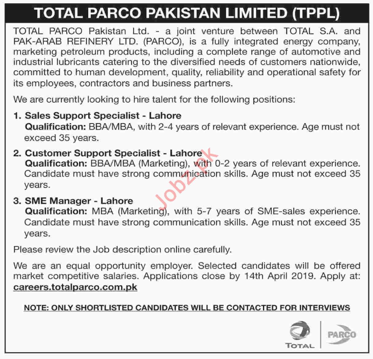 Total PARCO Pakistan Limited TPPL Jobs 2019 in Lahore
