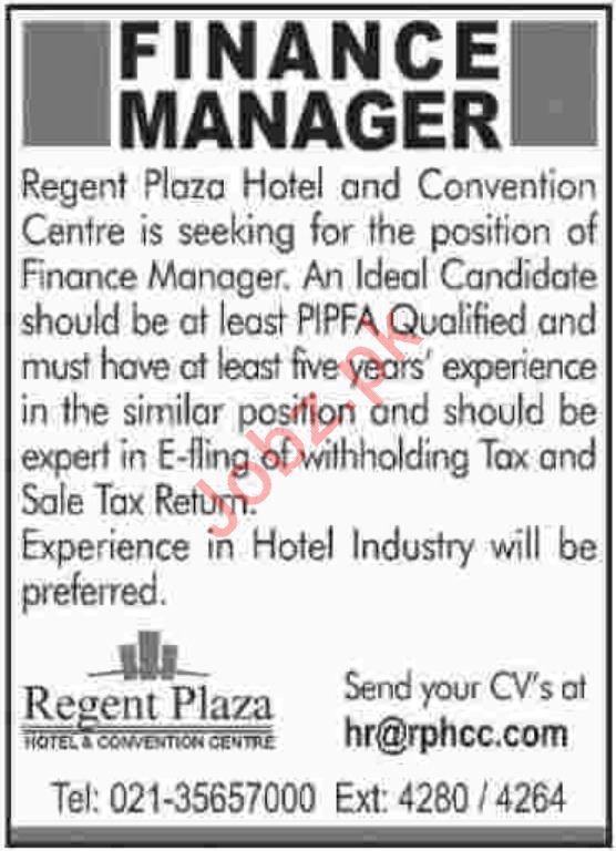 Finance Manager Job 2019 in Karachi