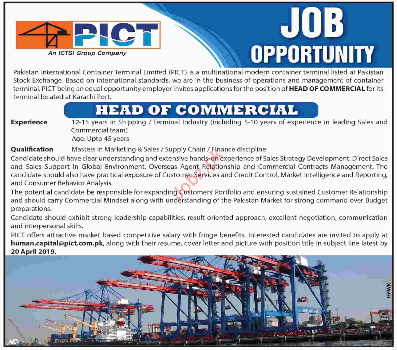 PICT Head Of Commercial Job in Karachi