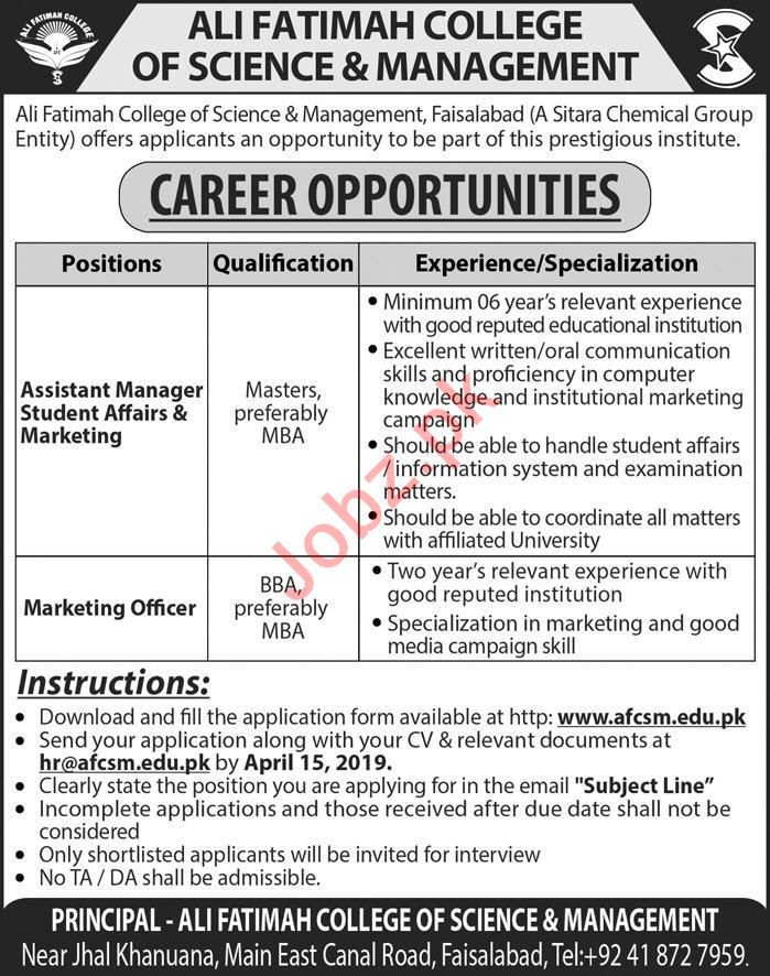 Ali Fatimah College of Science & Management Jobs 2019