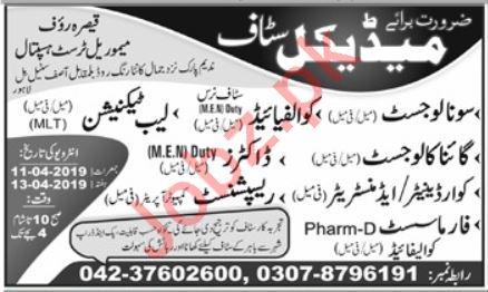 Qaisar Rauf Memorial Trust Hospital Jobs 2019 in Lahore