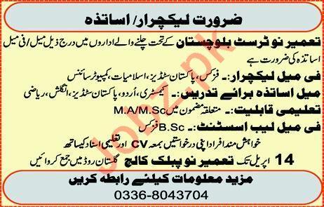 Lecturer Jobs in Tameer e Nau Trust