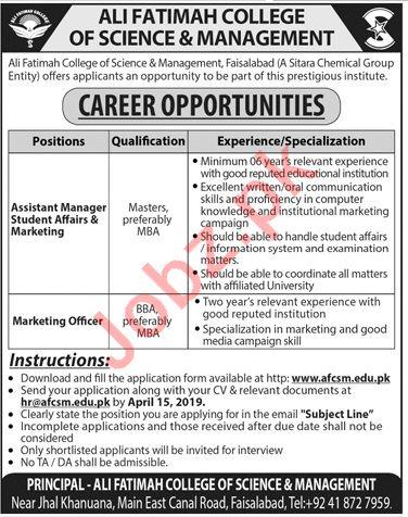 Ali Fatimah College of Science & Management Faisalabad Jobs