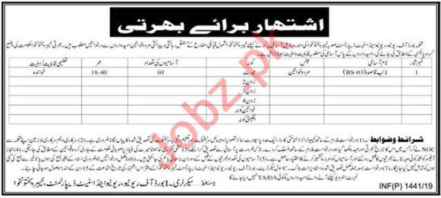 Board of Revenue Naib Qasid Job in KPK