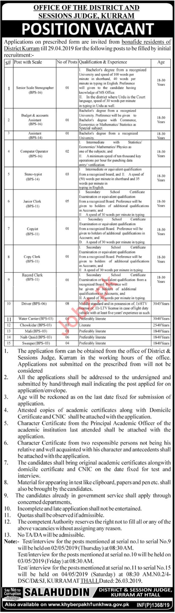 District & Session Court Jobs 2019 in Kurram KPK