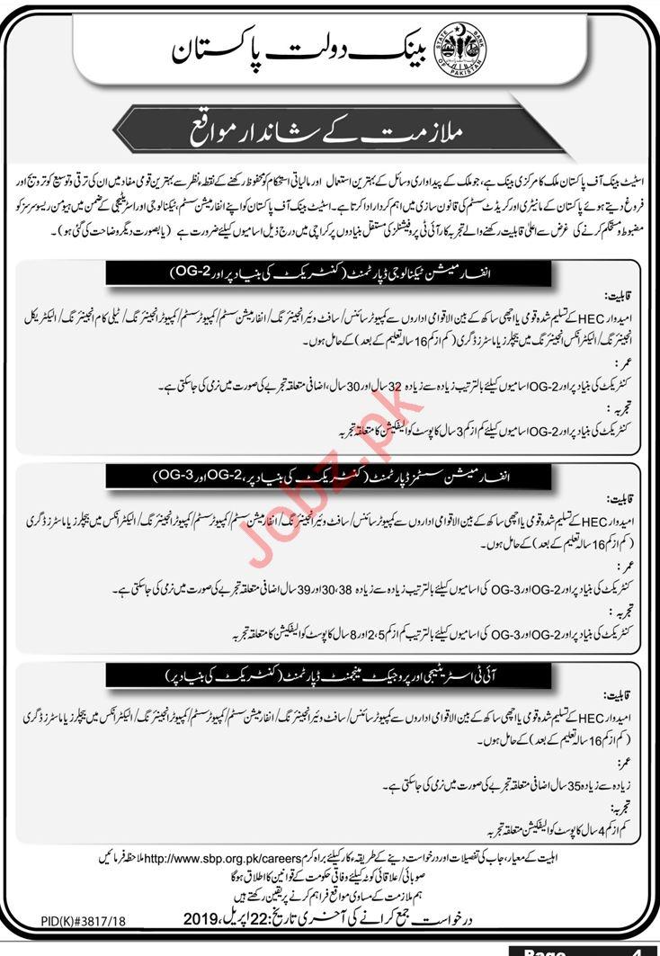 SBP State Bank of Pakistan Jobs 2019 in Karachi