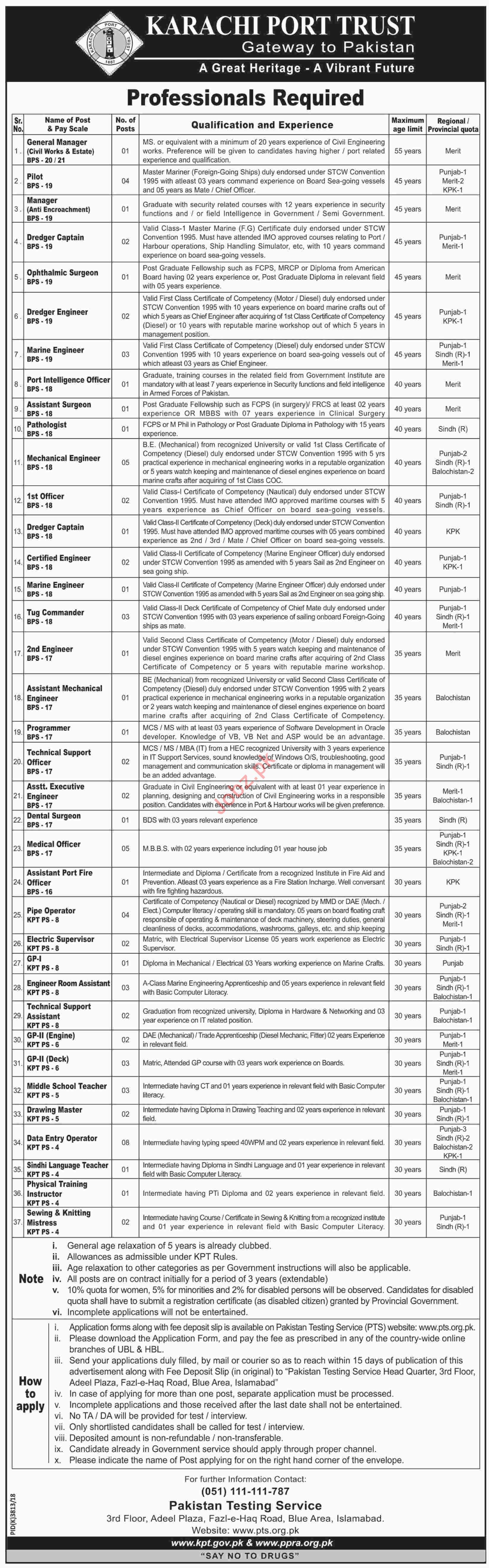 Karachi Port Trust KPT Jobs 2019