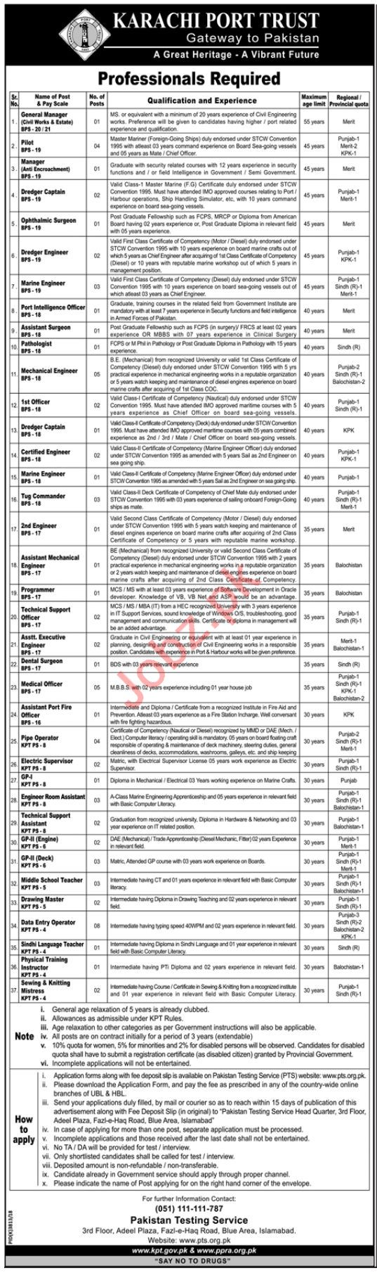 Karachi Port Trust Management Jobs 2019