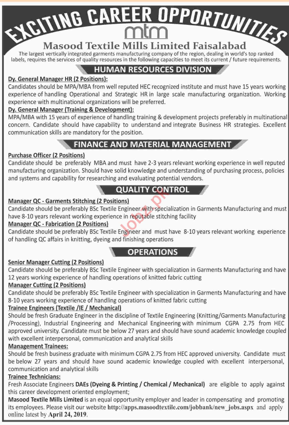 Masood Textile Mills Limited Management Job 2019