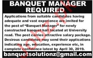 Banquet Manager Jobs in Private Company