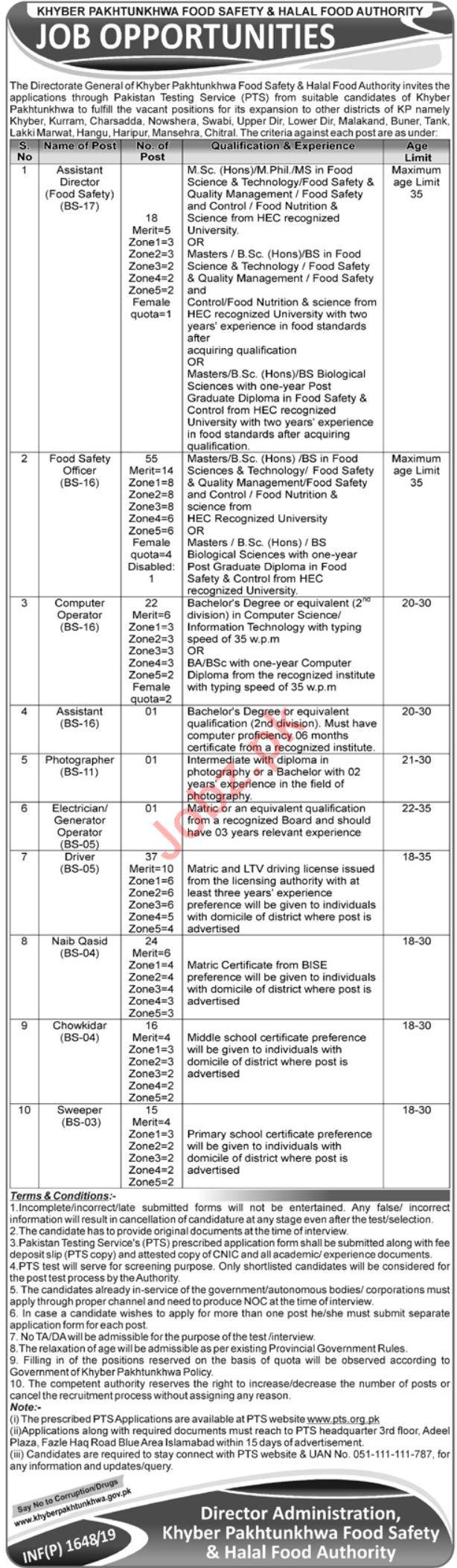 KP Food Safety & Halal Food Authority Jobs 2019 via PTS