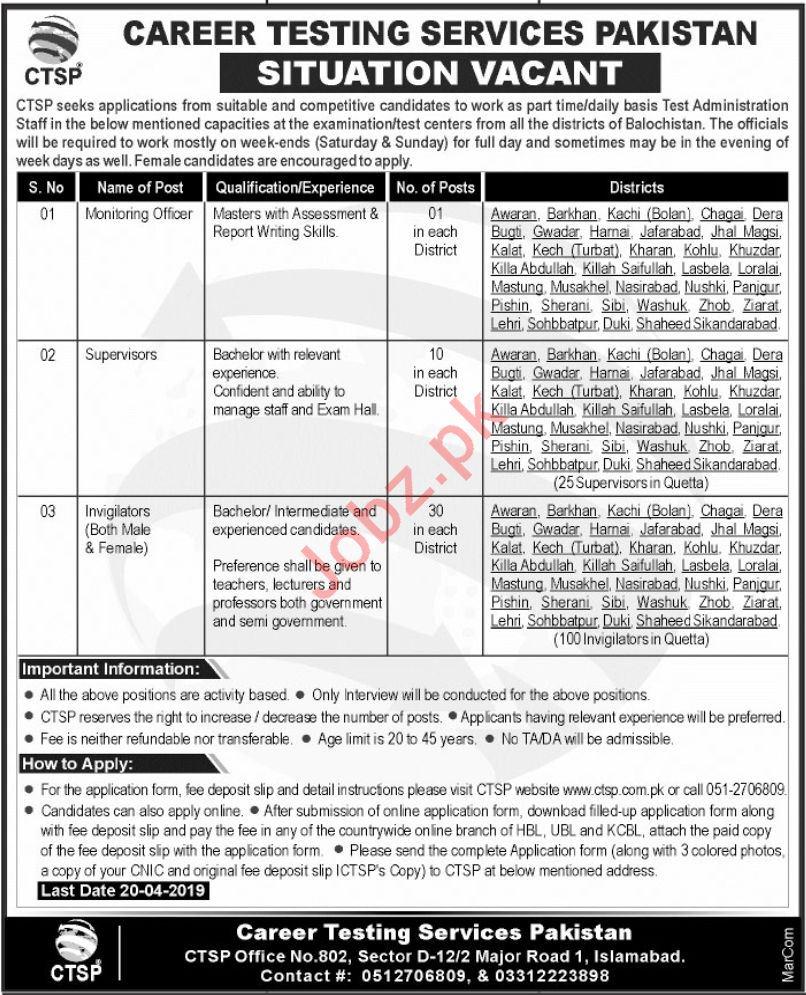 Career Testing Services Pakistan CTSP jobs 2019