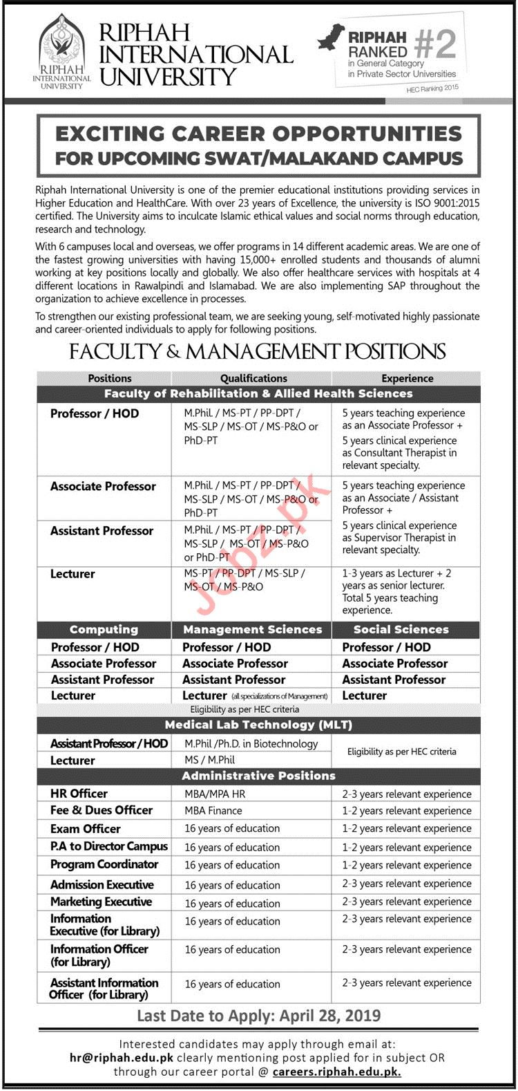 Riphah International University Jobs 2019 in Swat & Malakand
