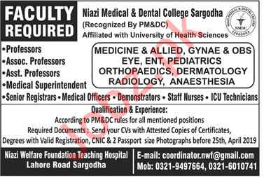 Niazi Medical & Dental College Sargodha Jobs for Professors