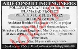 Arif Consulting Engineers Resident Engineer Jobs 2019