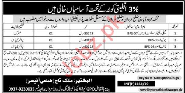 Population Welfare Department PWD Jobs 2019 in Mardan KPK