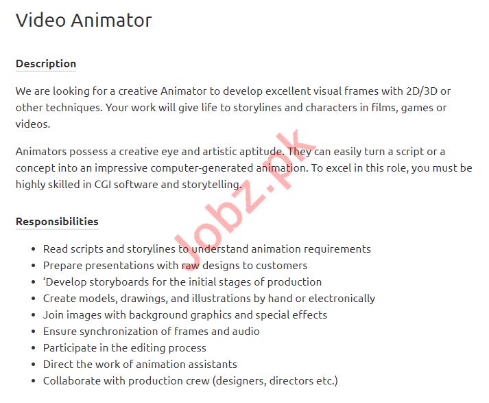 Video Animator Jobs 2019 in Karachi