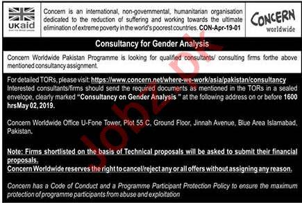 Concern Worldwide NGO Consultant Job in Islamabad