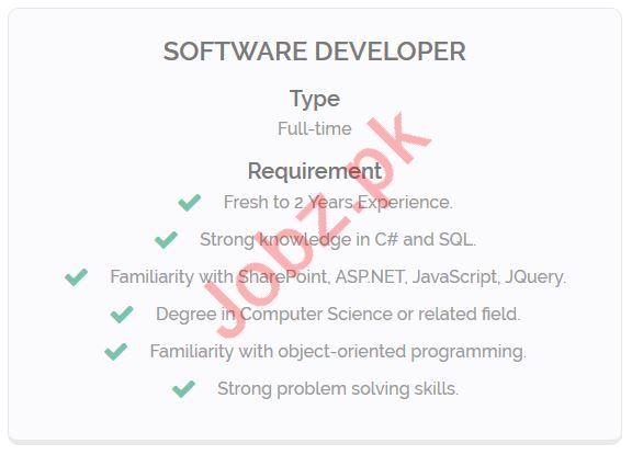 Software Developer Jobs Open in Lahore