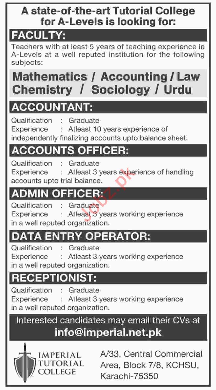 Tutorial College Teaching Staff & Non Teaching Staff Jobs